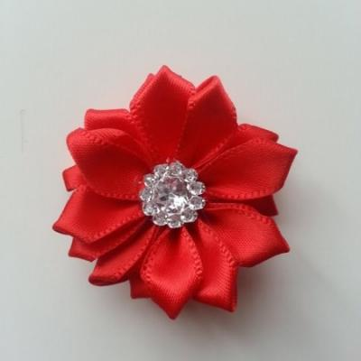 Applique fleur satin strass  35mm rouge
