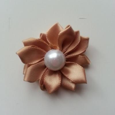fleur satin demi perle  35mm marron clair