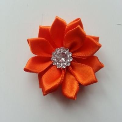 Applique fleur satin strass  35mm orange