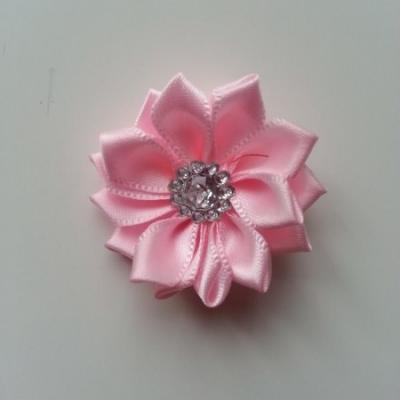 Applique fleur satin strass  35mm rose