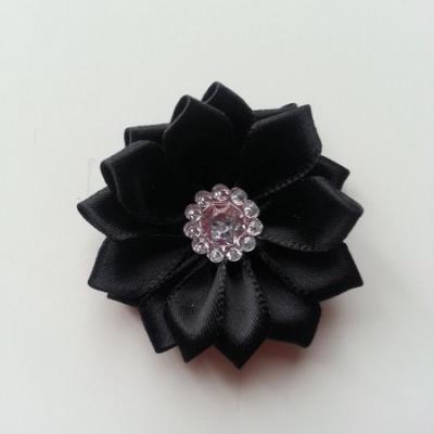 Applique fleur satin strass  35mm noir