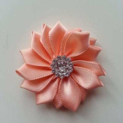 Applique fleur satin strass  35mm pêche
