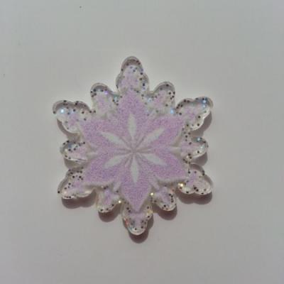 Cabochon étoile plat en résine  30mm rose