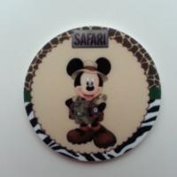 Cabochon  plat en résine mickey safari 40mm
