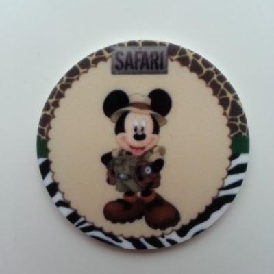 Cabochon  plat en résine mickey safari 40mm