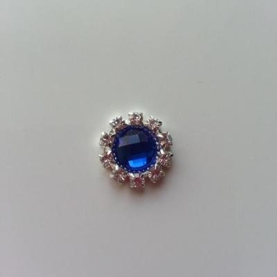 Embellissement strass bleu et argenté 14mm