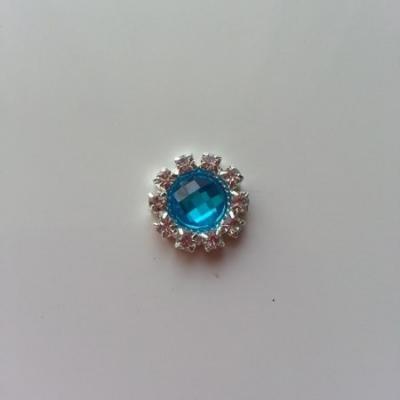 Embellissement strass bleu turquoise et argent 14mm