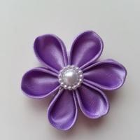 fleur en tissu 4cm mauve  pétales ronds