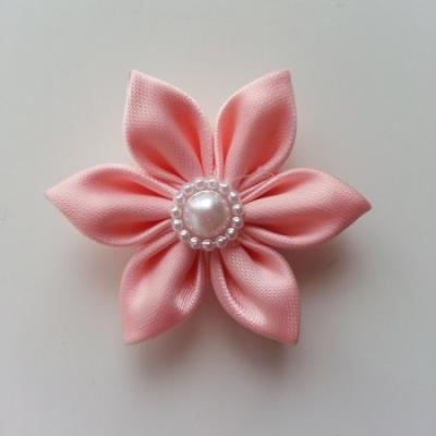 fleur en tissu 4cm peche pétales pointus