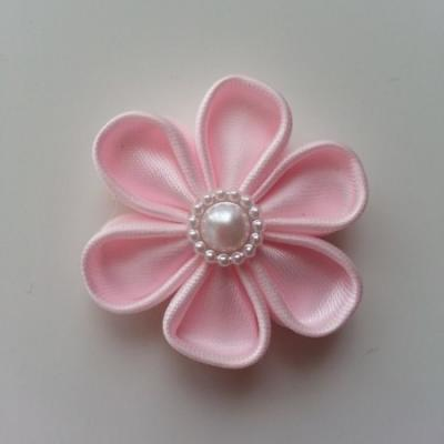 fleur en tissu 4cm rose pâle  pétales ronds