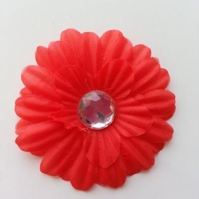 fleur marguerite en tissu rouge 55mm