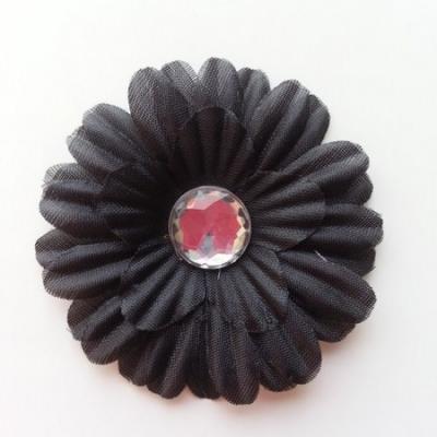 fleur marguerite en tissu noir 55mm