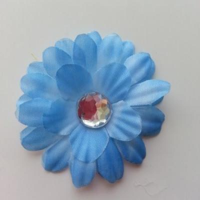 fleur marguerite en tissu bleu 55mm
