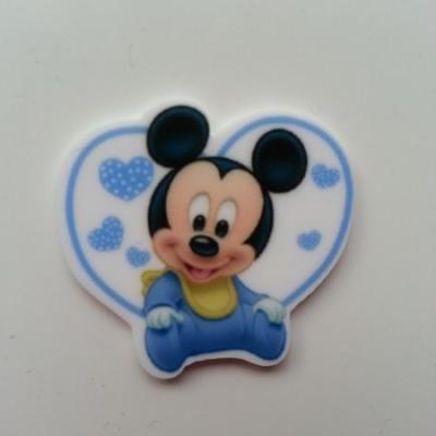Cabochon plat en résine  souris baby bleu 32*35mm