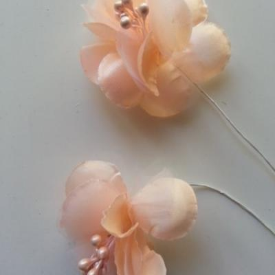 lot de 2 fleurs en tissu pêche 45mm sur tige avec pistils