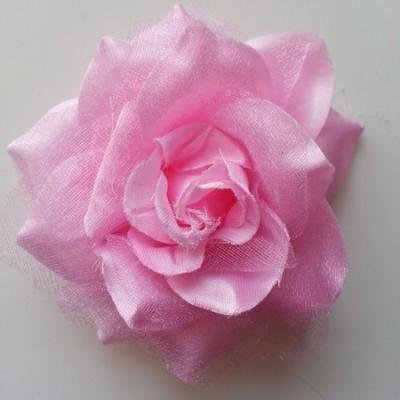 Rose bicolore en tissu   70mm  rose