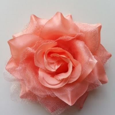 Rose bicolore en tissu   70mm pêche