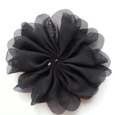 fleur en tissu mousseline noir  70mm