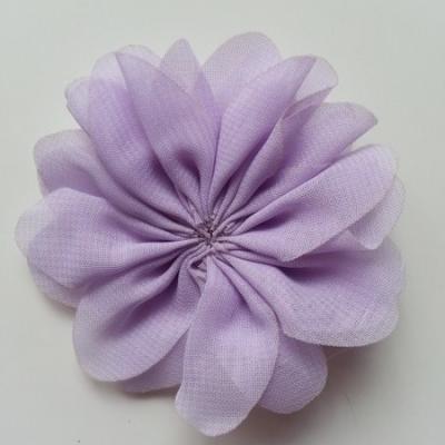 fleur en tissu mousseline mauve  70mm