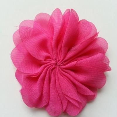fleur en tissu mousseline rose fuchsia   70mm