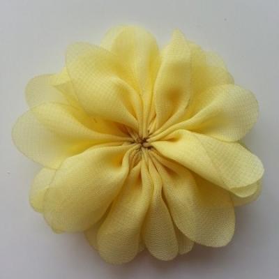 fleur en tissu mousseline jaune  70mm