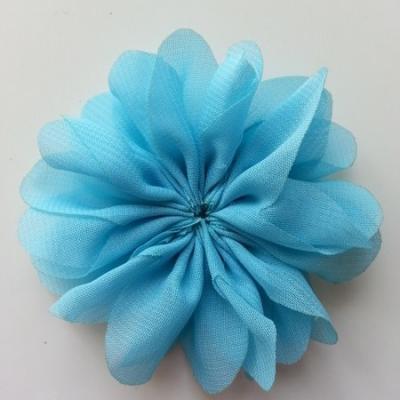 fleur en tissu mousseline bleu  70mm