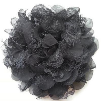 Grande fleur en mousseline  et dentelle 11cm noir