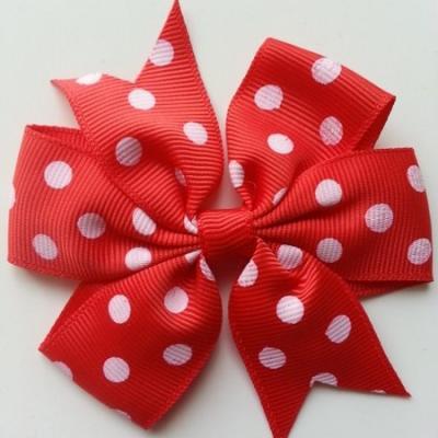 Gros noeud en ruban gros grain  80mm à pois rouge et blanc