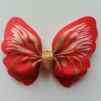 Noeud en tissu imitation papillon 57*52mm orange et beige
