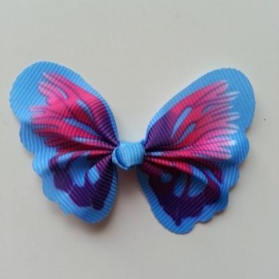 Noeud en tissu imitation papillon 57*52mm bleu, rose et violet
