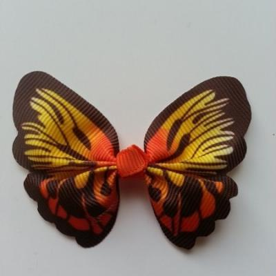 Noeud en tissu imitation papillon 57*52mm marron , orange et jaune
