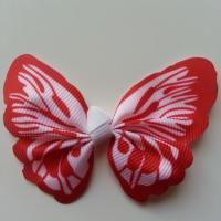 Noeud en tissu imitation papillon 57*52mm blanc et rouge