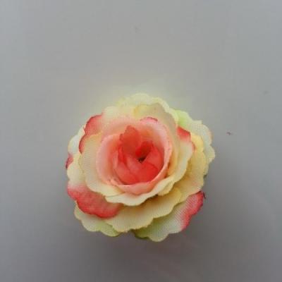 fleur en tissu 35mm ivoire et rouge saumoné