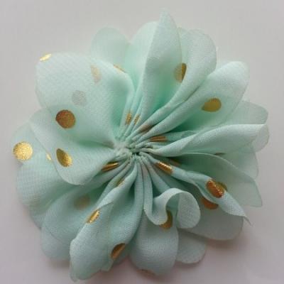 Applique fleur  à pois doré  vert pastel 80mm