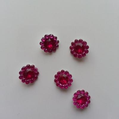lot de 5  strass ronds  12mm rose fuchsia