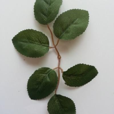 double tige de 6 feuilles artificielles vertes