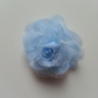 Fleur  en tissu bleu 45mm