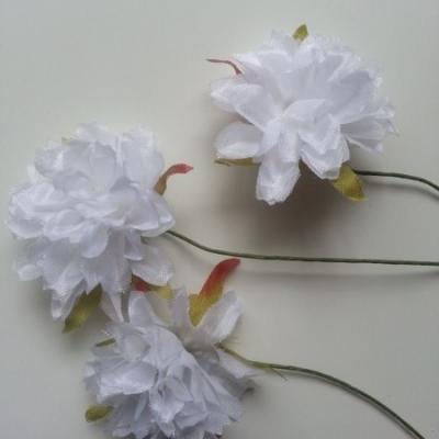 lot de 3 fleurs artificielles en tissu sur tige blanc
