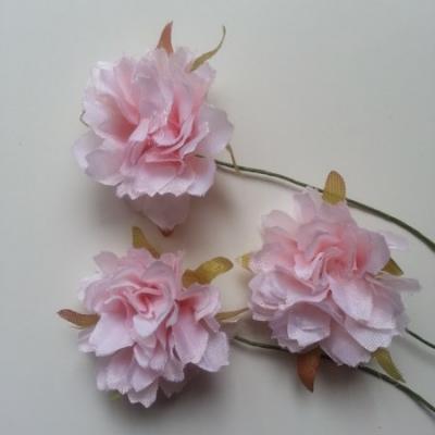 lot de 3 fleurs artificielles en tissu sur tige rose