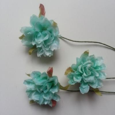 lot de 3 fleurs artificielles en tissu sur tige vert pastel