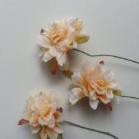 lot de 3 fleurs artificielles en tissu sur tige peche
