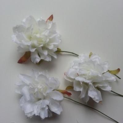 lot de 3 fleurs artificielles en tissu sur tige ivoire