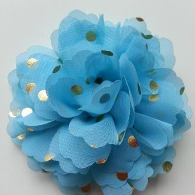 fleur en mousseline à pois doré bleu 10cm