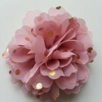 fleur en mousseline à pois doré vieux rose 10cm