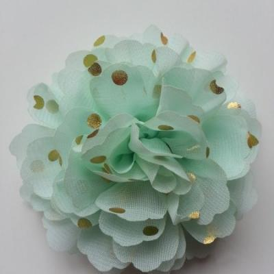 fleur en mousseline à pois doré vert  pastel10cm