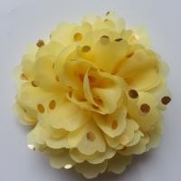 fleur en mousseline à pois doré jaune 10cm