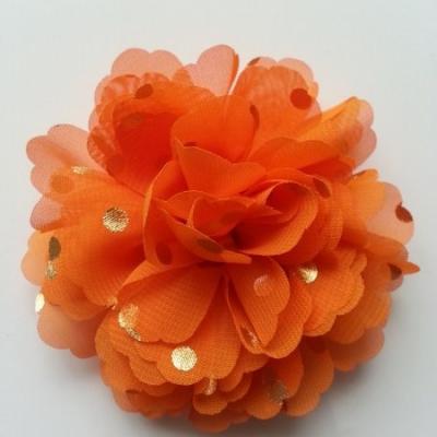 fleur en mousseline à pois doré orange10cm