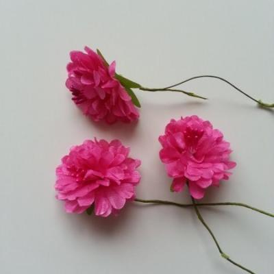 lot de 3 fleurs en tissu et pistils sur tige 40mm rose fuchsia