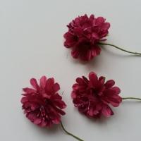 lot de 3 fleurs en tissu et pistils sur tige 40mm bordeaux