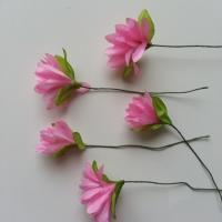 lot de  5 fleurs artificielles en tissu rose sur tige